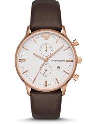 Emporio Armani - Men's Retro Brown Leather Watch, 43mm - Lyst