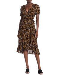 Everleigh Printed Woven Wrap Dress - Brown
