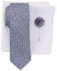 Ben Sherman - Park Floral Tie, Pocket Square, & Lapel Stick Pin Set - Lyst