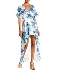 Lush - Short Sleeve Print Hi-lo Dress - Lyst