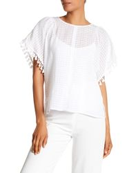 Vince Camuto - Textured Check & Tassel Trim Blouse - Lyst