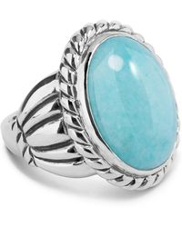 Relios - Sterling Silver Rope Bezel Amazonite Ring - Lyst