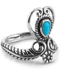 Relios - Sterling Silver Turquoise Accented Heart Scroll Ring - Lyst