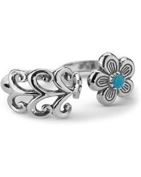 Relios - Sterling Silver Turquoise Accented Flower & Vine Wrap Two Finger Ring - Lyst