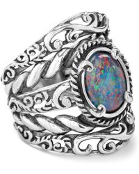 Relios - Sterling Silver Opal Triplet Bold Rope & Filigree Band Ring - Lyst