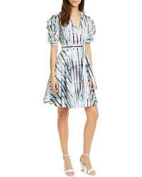 Diane von Furstenberg Indra Cotton Poplin Mini Wrap Dress - Blue