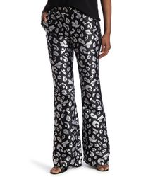 Rachel Zoe Aimee Patterned Wide Leg Pants - Black