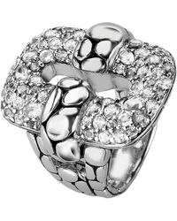 John Hardy Kali Sterling Silver Pave White Topaz Circle Textured Statement Ring - Size 7