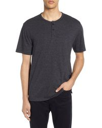 Vince Feeder Stripe Slim Fit Henley - Black