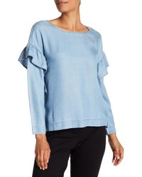 Two By Vince Camuto - Ruffle Shoulder Blouse - Lyst
