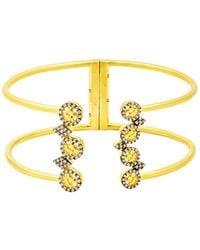 Freida Rothman 14k Yellow Gold Plated Sterling Silver Cz Lattice Motif Cuff Bracelet - Metallic
