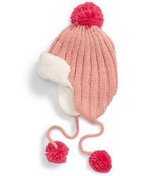 BP. Knit Pompom Trapper Hat - Pink