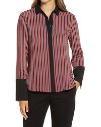 Anne Klein Stripe Oxford Shirt - Red