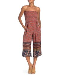 8f07b8f84be0 Taylor   Sage - Border Patterned Tube Jumpsuit - Lyst