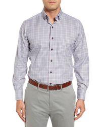 David Donahue Regular Fit Plaid Sport Shirt - Gray