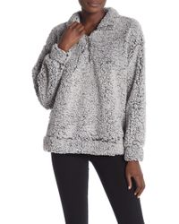 June & Hudson - Faux Shearling Half Zip Pullover - Lyst