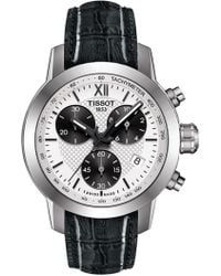 Tissot - Women's Prc 200 Fencing Chronograph Lady Croc Embossed Leather Strap Watch, 34mm - Lyst
