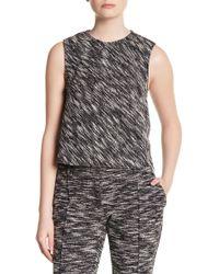 ABS By Allen Schwartz Knit Jacquard Sleeveless Blouse - Black