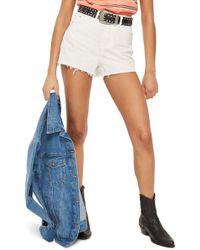 TOPSHOP - Cutoff Denim Mom Shorts - Lyst