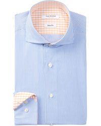Isaac Mizrahi New York | Long Sleeve Slim Fit Micro Stripe Dress Shirt | Lyst