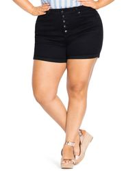 City Chic Button Front Shorts - Black