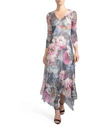 Komarov Handkerchied Hem Floral Maxi Dress - Multicolor