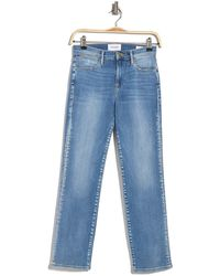 FRAME Le High Straight Sanded Seam Jeans - Blue