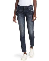 Rock Revival Skinny Zip Moto Jeans - Blue