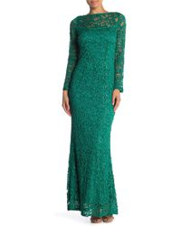 Marina - Long Sleeve Lace Gown - Lyst