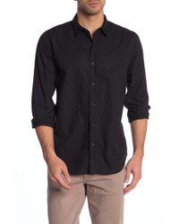 7 For All Mankind Solid Poplin Trim Fit Shirt - Black