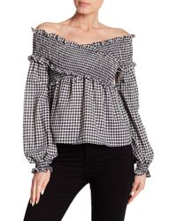 Haute Rogue - Off-the-shoulder Gingham Top - Lyst