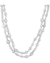 Splendid - Mixed Shaped Dyed Grey 3-10mm Cultured Freshwater Pearl Endless Necklace - Lyst