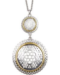 Lucky Brand - Two-tone Openwork Circkle Pendant Necklace - Lyst