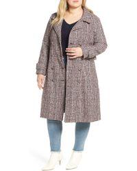 Lost Ink - Plaid Tweed Coat (plus Size) - Lyst