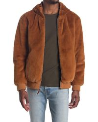 Sean John Faux Shearling Zip Jacket - Brown