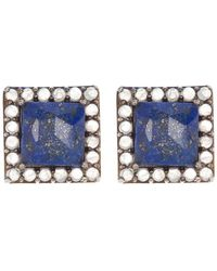 Adornia Black Rhodium Plated Sterling Silver Square Cut Lapis & Moonstone Stud Earrings - Blue