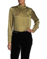 Go> By Go Silk Victorian Mock Neck Long Sleeve Silk Blouse - Green