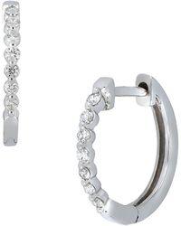 Bony Levy - 18k White Gold Bezel Set Diamond Huggie Hoop Earrings - 0.20 Ctw - Lyst