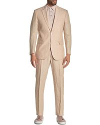 Tommy Hilfiger Light Tan Solid Two Button Notch Lapel Linen Suit - Brown