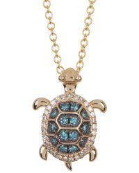 Effy 14k Yellow Gold Two-tone Diamond Turtle Pendant Necklace - 0.19 Ctw - Blue
