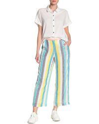 Splendid X Gray Malin Linen Blend Stripe Print Pants - Blue