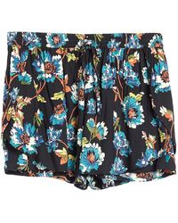 Angie Smocked Floral Print Shorts (plus Size) - Blue