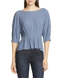 Nordstrom Pleat Detail Top - Blue