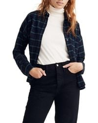 Madewell Flannel Bromley Shirt In Bryanston Plaid - Blue