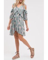 Blu Pepper - Floral Cold Shoulder Ruffle Dress - Lyst