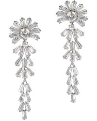CZ by Kenneth Jay Lane - Round & Baguette Cut Cz Drop Earrings In Clear/silver At Nordstrom Rack - Lyst