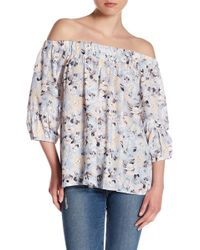 Skies Are Blue - Floral Off-the-shoulder Blouse - Lyst