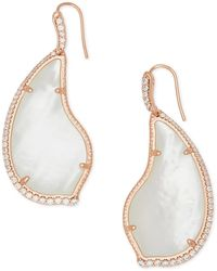 Kendra Scott Tinley 14k Rose Gold Plated Ivory Mother-of-pearl Cz Teardrop Earrings - White