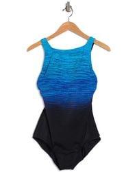 Reebok Printed One-piece Swimsuit - Blue