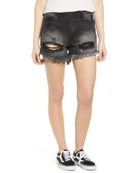 Articles of Society Meredith Ripped Denim Shorts - Multicolor